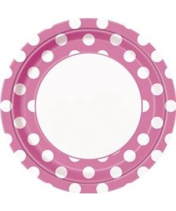 8 Hot Pink Dots 9 pulg  Plate