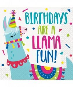 16 Llama Birthday Lunch Napkin