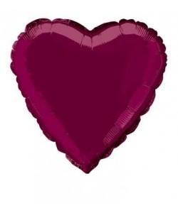 18 pulg. Pkg Heart Burgndy...
