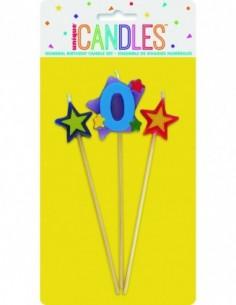 Number 0 Star Candles Set