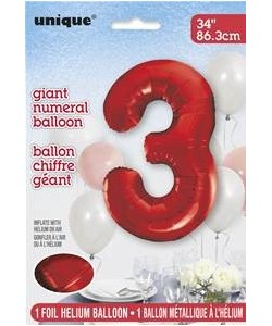 34 pulg.  Foil Numeral Red...