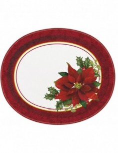 Holly Poinsettia Paper Oval...