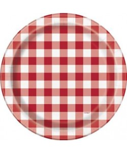 8 Red Gingham 9 pulg. Plates