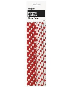 10 Ruby Red Dots Paper Straws