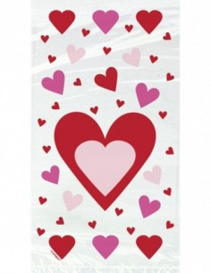 Hearts Cellophane Bags, 20ct