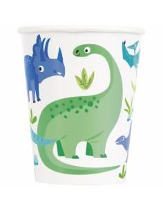 Vasos papel dinosaurio azul...