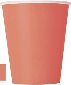 Coral Solid 9oz Paper Cups,...